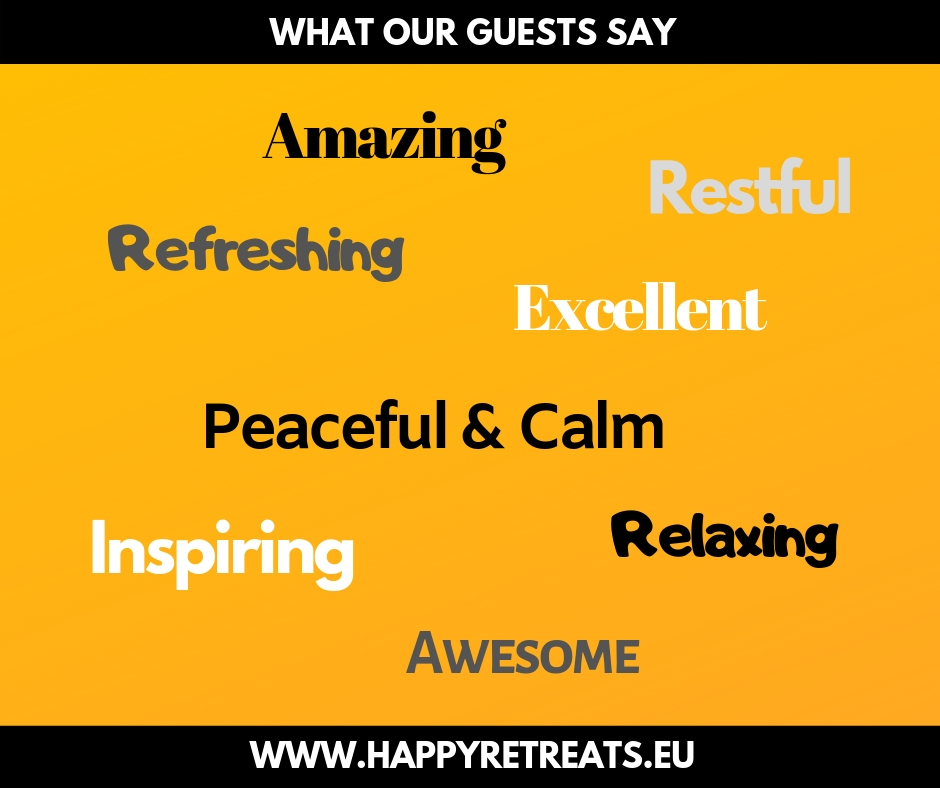 The image shows words of what our guests think about the retreat